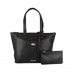Cultured London - Black 'Leona' large handbag with security pouch
