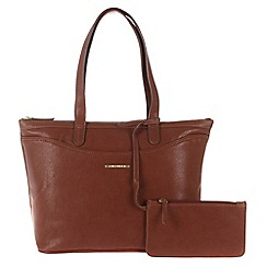 Cultured London - Nut 'Leona' large handbag with zipped security pouch