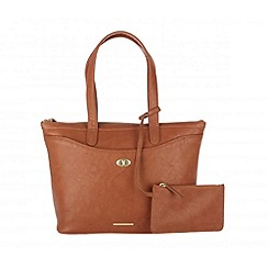 Cultured London - Tan 'Leona' large handbag with security pouch