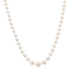 Pure Luxuries London - Gift packaged 4-9mm graduated pearl & 9ct yellow gold necklace