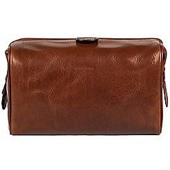 Pure Luxuries London - Cognac 'Fabrizio' handmade veg-tanned Italian leather wash bag