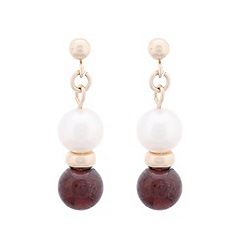 Pure Luxuries London - Gift packaged garnet, white river pearl and 9ct yellow gold drop earrings
