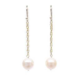 Pure Luxuries London - Gift packaged 9-9.5mm river pearl & 9ct yellow gold drop earrings