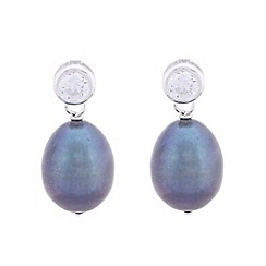 Pure Luxuries London - Gift packaged 9.5-10mm peacock colour and cubic zirconia drop earrings