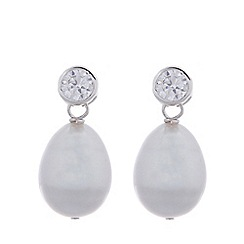 Pure Luxuries London - Gift packaged 9-9.5mm grey river pearl and cubic zirconia earrings