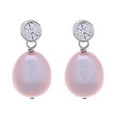 Pure Luxuries London - Gift packaged 9-9.5mm pink river pearl and cubic zirconia earrings