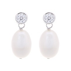 Pure Luxuries London - Gift packaged 9-9.5mm white river pearl and cubic zirconia earrings