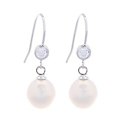 Pure Luxuries London - Gift packaged white river pearl and cubic zirconia earrings