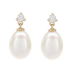 Pure Luxuries London - Gift packaged 'Rani' river pearl, 18ct yellow gold and 10-point diamond earrings