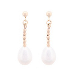 Pure Luxuries London - Gift packaged white river pearl and 9ct yellow gold drop earrings