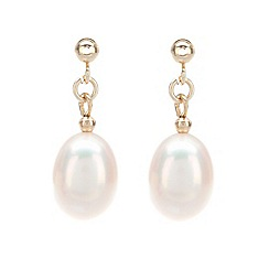 Pure Luxuries London - Gift packaged 'Rosalyn' freshwater pearl and yellow gold drop earrings