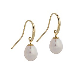 Pure Luxuries London - Gift packaged 'Ambrosine' teardrop river pearl and 9ct gold earrings