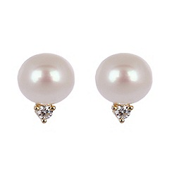Pure Luxuries London - Freshwater pearl, 10-point diamond and 9ct yellow gold stud earrings in gift packaging