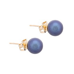 Pure Luxuries London - Gift packaged 7-7.5mm peacock colour river pearl and 9ct yellow gold stud earrings