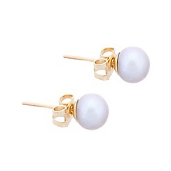 Pure Luxuries London - Gift packaged 6-6.5mm grey river pearl and 9ct yellow gold earrings