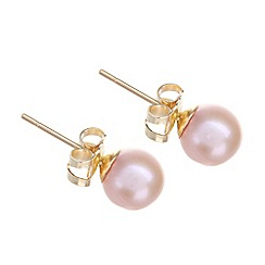 Pure Luxuries London - Gift packaged 6-6.5mm pink river pearl and 9ct yellow gold earrings