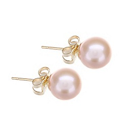 Pure Luxuries London - Gift packaged 'Therese' 7-7.5mm pink river pearl and 9ct yellow gold earrings