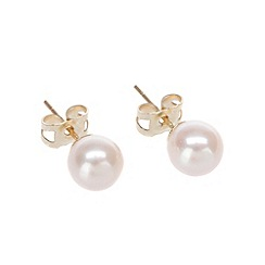 Pure Luxuries London - Gift packaged 6-6.5mm round river pearl & 9ct yellow gold earrings