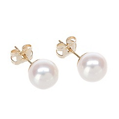Pure Luxuries London - Gift packaged 7-7.5mm river pearl & 9ct yellow gold earrings