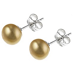 Pure Luxuries London - Gift packaged 7-7.5mm freshwater gold pearl earrings