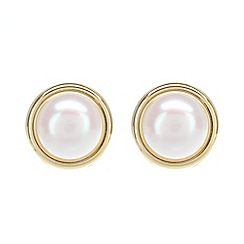 Pure Luxuries London - Gift boxed 'Fleur' 7.5-8mm freshwater pearl and 9ct yellow gold earrings