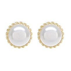 Pure Luxuries London - Gift packaged 5.5-6mm freshwater pearl and 9ct yellow gold stud earrings