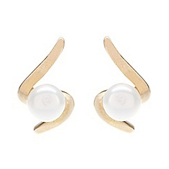 Pure Luxuries London - Gift boxed 'Wanda' freshwater pearl and curved 9ct yellow gold earrings