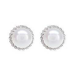 Pure Luxuries London - Gift boxed 'Michele' 5.5-6mm freshwater pearl and 9ct white gold earrings