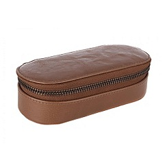 Conkca London - Chestnut 'Zipit' veg-tanned leather glasses case