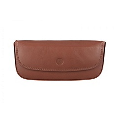 Conkca London - Cognac 'Mallard' veg-tanned leather glasses case