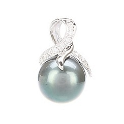 Pure Luxuries London - Gift packaged 10-11mm 'Tahitian pearl', diamond and 18ct white gold pendant