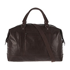 Conkca London - Dark brown 'Monty' handcrafted leather holdall