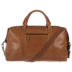 Conkca London - Dark tan 'Monty' handcrafted leather holdall