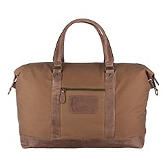 Conkca London - Light brown 'Monty' waxed canvas and leather holdall