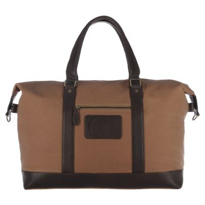 Conkca London Brown ´Monty´ waxed canvas & leather holdall - . -