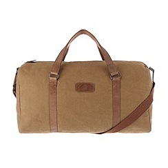 Conkca London - Bark brown 'Cassius' vintage canvas and leather holdall