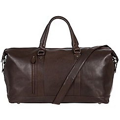 Conkca London - Dark brown 'Liston' handcrafted leather holdall
