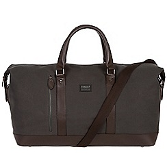 Conkca London - Grey 'Frasier' 16oz canvas and leather holdall