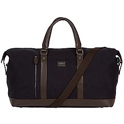 Conkca London - Navy 'Frasier' 16oz canvas and leather holdall