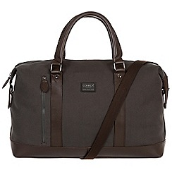 Conkca London - Grey 'Spinks' 16oz canvas and leather holdall
