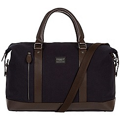 Conkca London - Navy 'Spinks' 16oz canvas and leather holdall