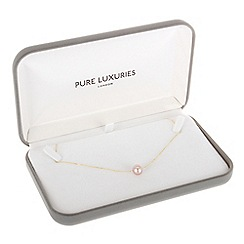Pure Luxuries London - Gift packaged 10-11mm pink freshwater pearl and 9ct yellow gold necklace