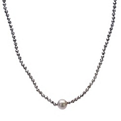 Pure Luxuries London - Gift packaged 'Paola' 10mm Tahitian pearl and haematite necklace