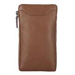 Conkca London - Chestnut 'Shield' veg-tanned leather large case