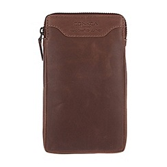 Conkca London - Conker brown 'Shield' vintage leather large case