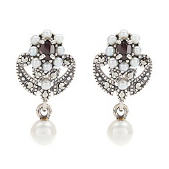 Pure Luxuries London - Gift packaged freshwater pearl, garnet and marcasite vintage earrings
