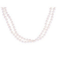 Pure Luxuries London - Gift packaged 'Lois' round white freshwater pearl long necklace
