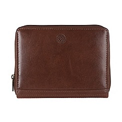 Conkca London - Brown 'Pintail' zip-round leather purse
