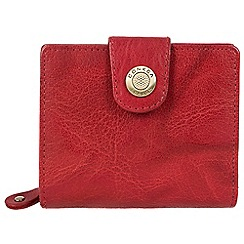 Conkca London - Vintage cranberry 'Nova' waxed leather 10-card RFID purse