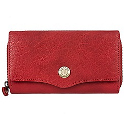 Conkca London - Vintage cranberry 'Alexia' waxed leather 9-card RFID purse